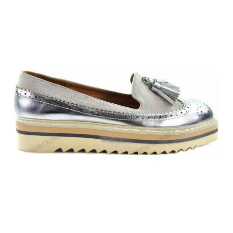 cb86a79de31 Liquidación zapatos planos mujer cuña modelo Gris y plata baratos.