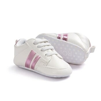 29b11379003d Deportivas bebé blancas y rosa