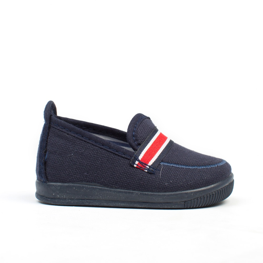 d6402478b Comprar Zapatillas Niño Lona azul marino y raya roja baratos