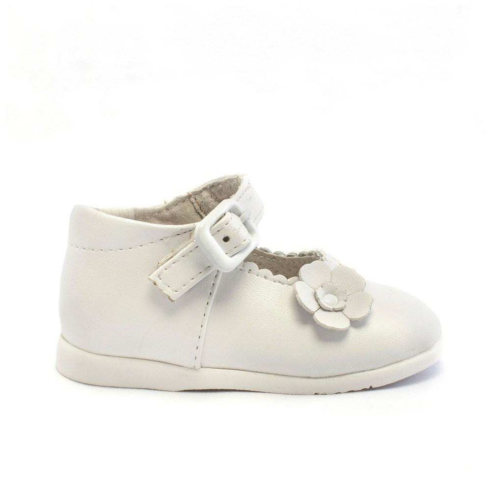 14c42004 Comprar Merceditas bebé niña primeros pasos blanca modelo Flor