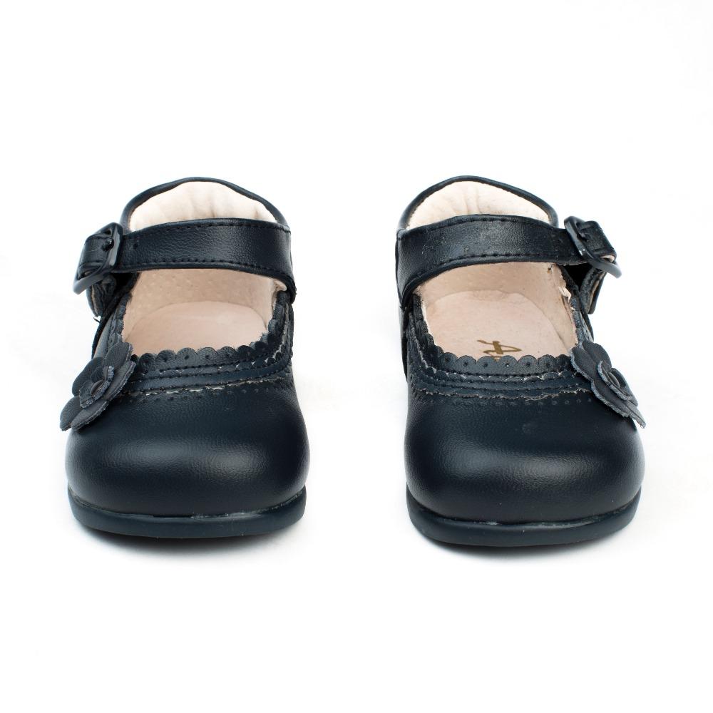 diseño innovador c6c08 3f960 Merceditas bebé niña primeros pasos Azul marino modelo Flor