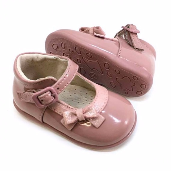 cf28324ef18d0 ... Merceditas bebé niña rosa empolvado charol lacito (1)