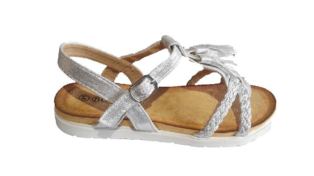 1c90ab0d3 Comprar Sandalias niña baratas Blanco plata Glitter Flecos