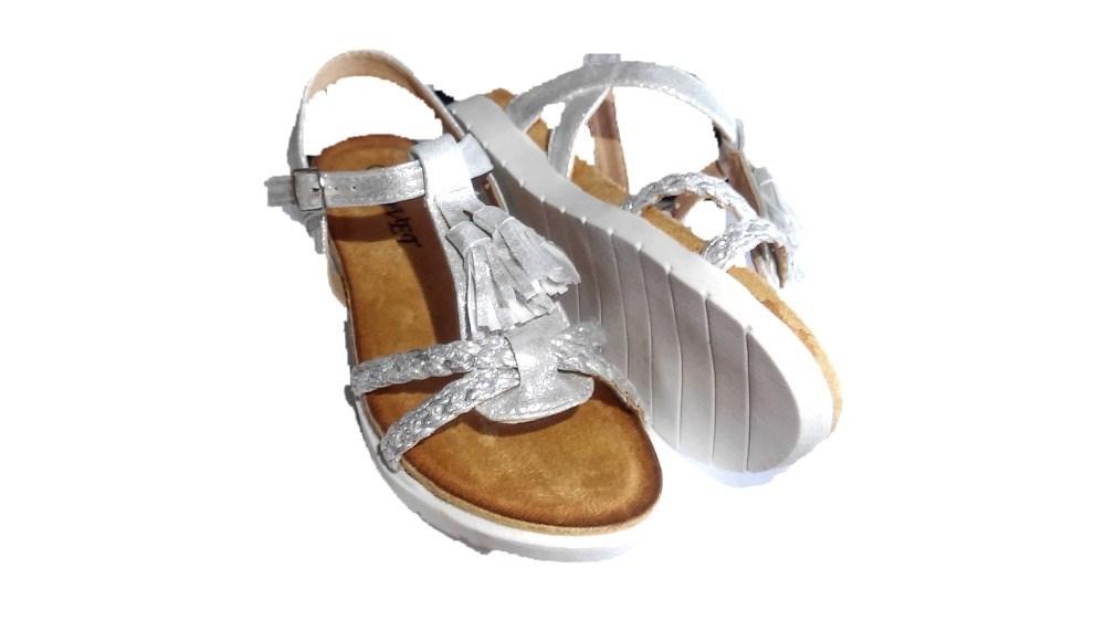 1295542b Comprar Sandalias niña baratas Blanco plata Glitter Flecos