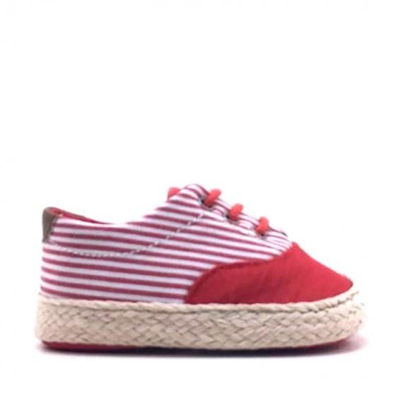 84bb1102 ... Zapatillas Deportivas bebé niña de lona a rayas rojas (1) ...