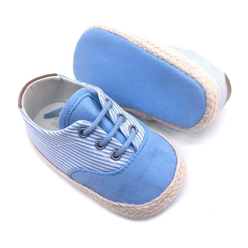b4a0709a8 Comprar Zapatillas Deportivas bebé niña de lona a rayas celestes