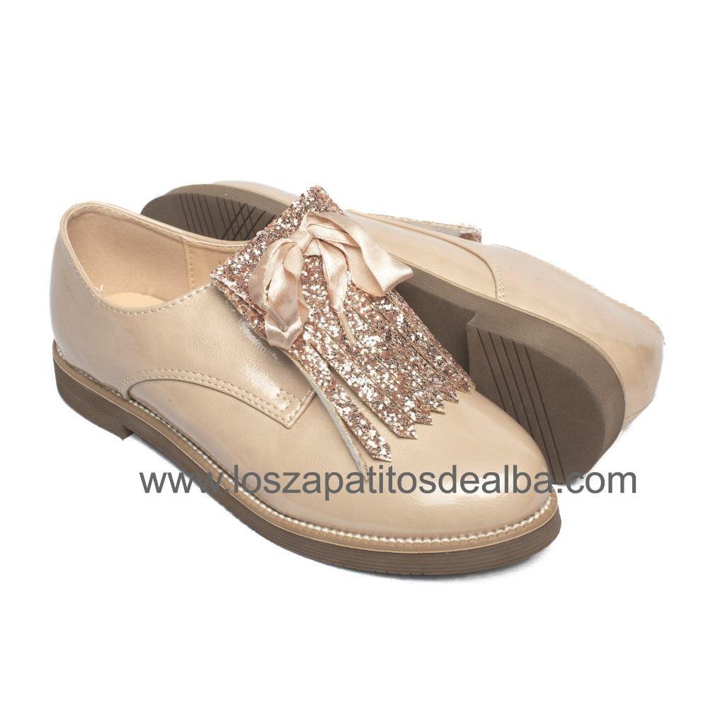 Blucher 2 Charol Zapato Inglés Niña Modelo Beige FCqCdaTwx