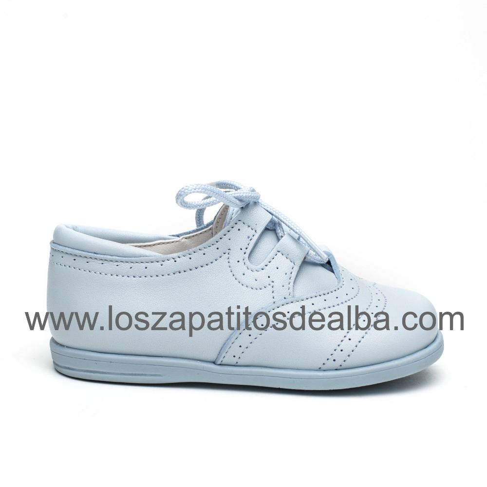 e1b1d42fcd5a1 Zapatos Inglesitos Niño Celeste Piel Modelo Bruno ...