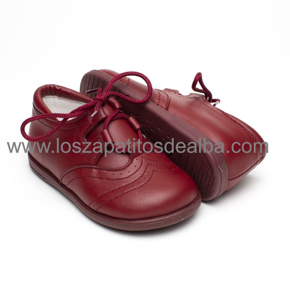 53b3ca7909ed Zapatos Inglesitos Niño Burdeos Piel Modelo Bruno